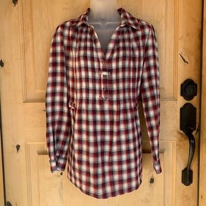 Tommy Hilfiger Red & Blue Plaid Flannel Top